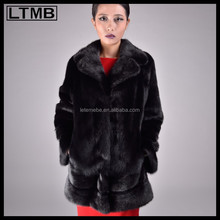 2015 Genuine mink fur coat for women luxury black coat