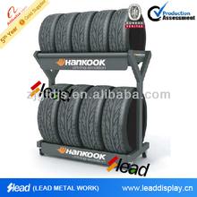 Garage using tire rack storage system