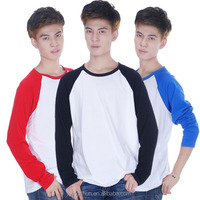 Men's Hip Hop Cotton White T-Shirt-Men Raglan Long Sleeved Plain Baseball T Shirt Tops Casual-Shirt