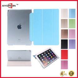 Hot Sales fashion Silk Pattern PU smart cove case for iPad air1/air2 folded 3 styles ultra slim leather case