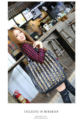 Fashion lady's genuine leather handbag and tote bag with horse hair