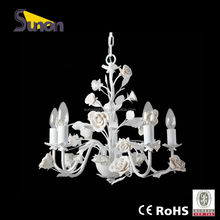Modern Iron Hanging Chandelier /wrought iron white chandelier for hotel