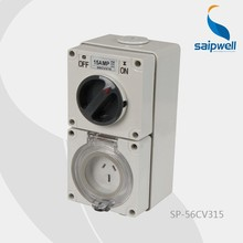 AIPWELL/SAIP New Type IP66 CEE/IEC 10A/500V 5 Poles Industrial Waterpoof Isolating Combination Switch Socket