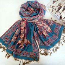 2015 HOT OEM Multicolor classic peacock jacquard tassel scarf sell like hot cakes Fashion air conditioning shawls long scarf