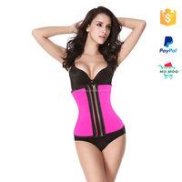 wholesale latex pink double zipper waist trainer girdle