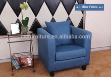 color wooden frame and feet one seater single fabric sofa for home furniture