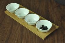White Porcelain Serving Dish, Square Shape Porcelain Snack Dish , Porcelain Appetizer dish with bamboo tray