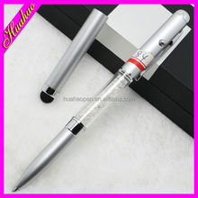 2015 high quality metal ballpoint pen with light, promotional metal pen with logo, led light floating pen for gift