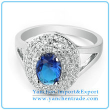 2015 Hot Sale Diamond Ring for Sale with Rhodium Plated White and Blue CZ Stone