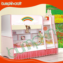 Rainbow Pink mdf board kids double bunk beds size for children