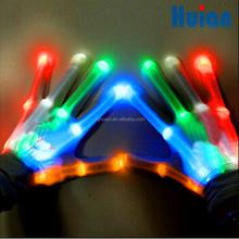 Nylon led finger Flashing Skeletal XBone glove with Red+blue+green bulbs