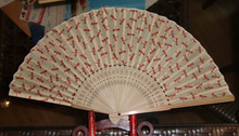 Chinese style hand fan with bamboo handle /cotton fan/polyester fan