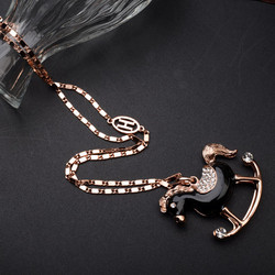 Wholesale European and Ameriacan Style Carousel Pendant Necklace Crystal Enamel Horse Necklace