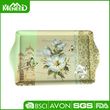 Flower all over print 2 handles melamine food carrying tray