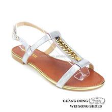 summer for girls adjustable T-strap design ankle strap open toe ladies ankle-strap flat shoes