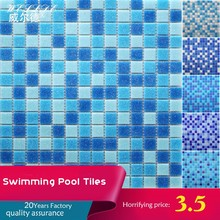 mixed blue color for swimming pools glass mosaic tiles, factory of tiles in China