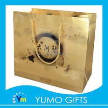 customized gold color large size seafood shopping packaging paper bag