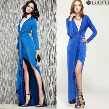 Hign End fashion designer asymmetrical deep v neck long sleeve evening dresses