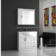 De alto brillo de pintura blanco vanidad cuarto de baño, mdf estilo moderno cuarto de baño de la vanidad( 9011- 105)