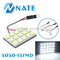 15SMD 5050 LED Car Panel Light Interior Room Dome Door White Bulb Lamp