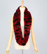 QC6050-5 red women colorful genuine rex rabbit fur stripe scarf/scarves neckerchief