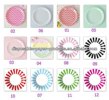 2400x 12 colors CHEVRON STRIPES Disposable Paper Party Plates DISHES Lunch DINNER 23cm 9INCH Picnic ,Free Shipping