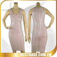 2014 hotest sale sleeveless pink bandage sexy club knee length dress