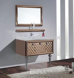 Two legs wall mounted single basin shining stainless steel bathroom mirror cabinet bathroom set cabinet