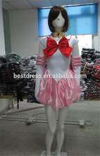 Sailor moon chibiusa rosa traje de cosplay uniforme de fantasía traje de vestir +gloves