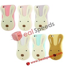 Hot Selling Cute 3D Rabbit Silicon Case Cover for iPhone 4 4s