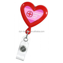 promotional Plastic heart shape ID card bedge hold retractabel Badge Reel