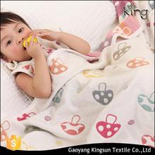 wholesale Super Soft Plain White cotton mushuroom jacquard baby blanket
