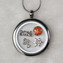 2014 30mm Floating Memory Locket Charm Necklace Pendant Chain Star Basketball