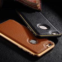 Para Apple iphone 6 de cuero Back Metal caso de parachoques del marco