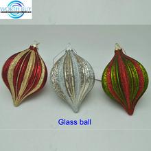 Onion shaped striped glass Christmas ball wholesale, 3 options