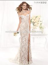 Venta caliente vestido de novia sirena de la tapa del piso- longitud barato cordón largo vestido de noche 2014 ze-413 turquía