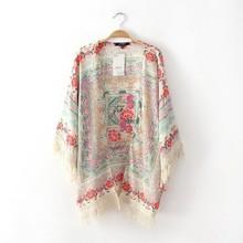 Hot Summer Cheap Sale Japan Style Women Cardigan Kimonos 2015 Desigual Batwing Tassel Floral Printing Loose Blouse Kimono