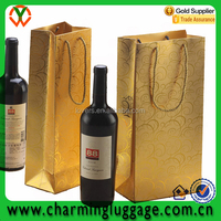 China Supplier wholesale gold hot stamping paper wine bottle carrying gift bags