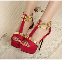 Dongguan Manufacture Women's Peep Toe High Heel Platform Pumps Suede wedding party Sandals size 8,red(BH15060010)