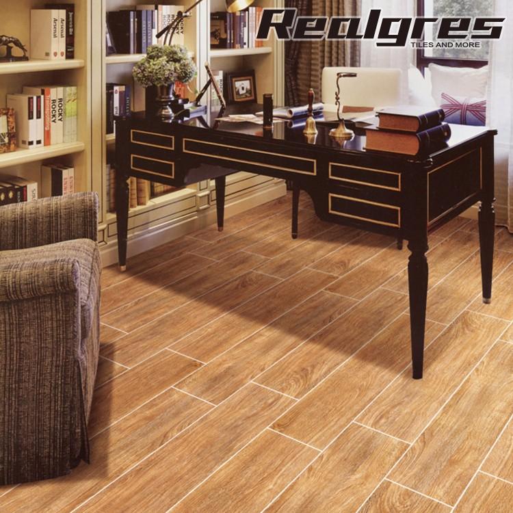 Shiny Uneven Floor Tile Imitation Wooddeep Colour Wood Texture