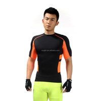Black Orange Polyester Spandex Fabric Quick Dry Breathable Soft Running Gym T shirt Compression Shirt compression spandex