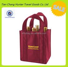 hand handle burgundy red non woven 6 bottle wine bag multiple bottles wine bag