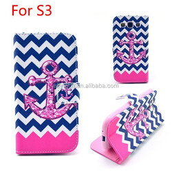 colorful print pu wallet stand leather case for samsung galaxy S3 9300 many designs in stock