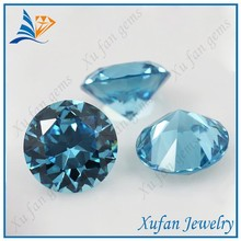 Hight quality round brilliant cut blue cz gemstone in wholesale