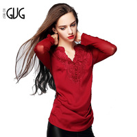 Women Hollow Out Long Sleeve V-neck Flowers Embroidery Sexy T-shirt 5J23
