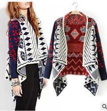 European and American wind geometric long-sleeved cardigan loose cape women fashion coat