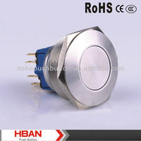 CE ROHS (30MM)Momentary or latching Flat head metal pushbutton switch