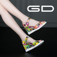Newest girls printing flower sandal 2015 new designs women sandal shoes