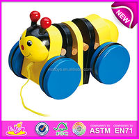 2015 New wooden pull back toy for kids,popular pull and push toy for children,fashion and cute pull back toy for baby W05B042