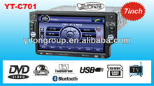 "Single DIN Detached panel 7""TFT CAR DVD/MP4/DIVX/TV/AM/FM/RDS/BLUETOOTH Touch screen player YT-C701"
